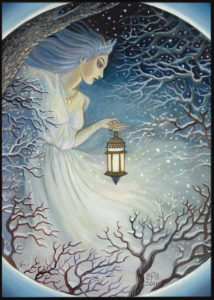 Woman with lantern on snowy night