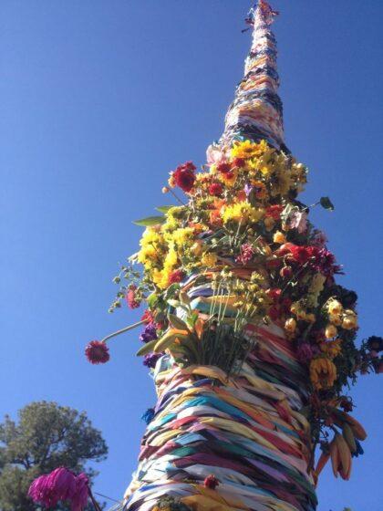 Towering floral arrangement