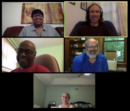 Picture of Ministerial Search Committee in Zoom Meeting: Kim Smith, Brent Jesiek Stephen David, Barny Dunning, and Susanne McConville
